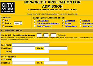 CCSF Online Application - Noncredit
